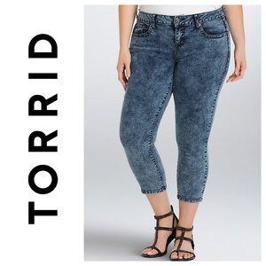 TORRID Cropped Acid Wash Skinny Jeans